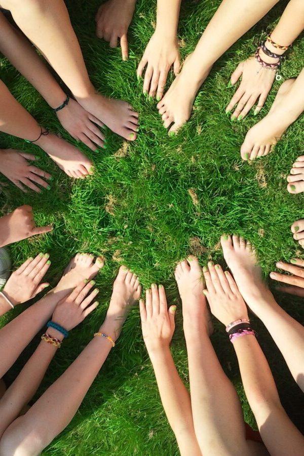 community bringing hands together